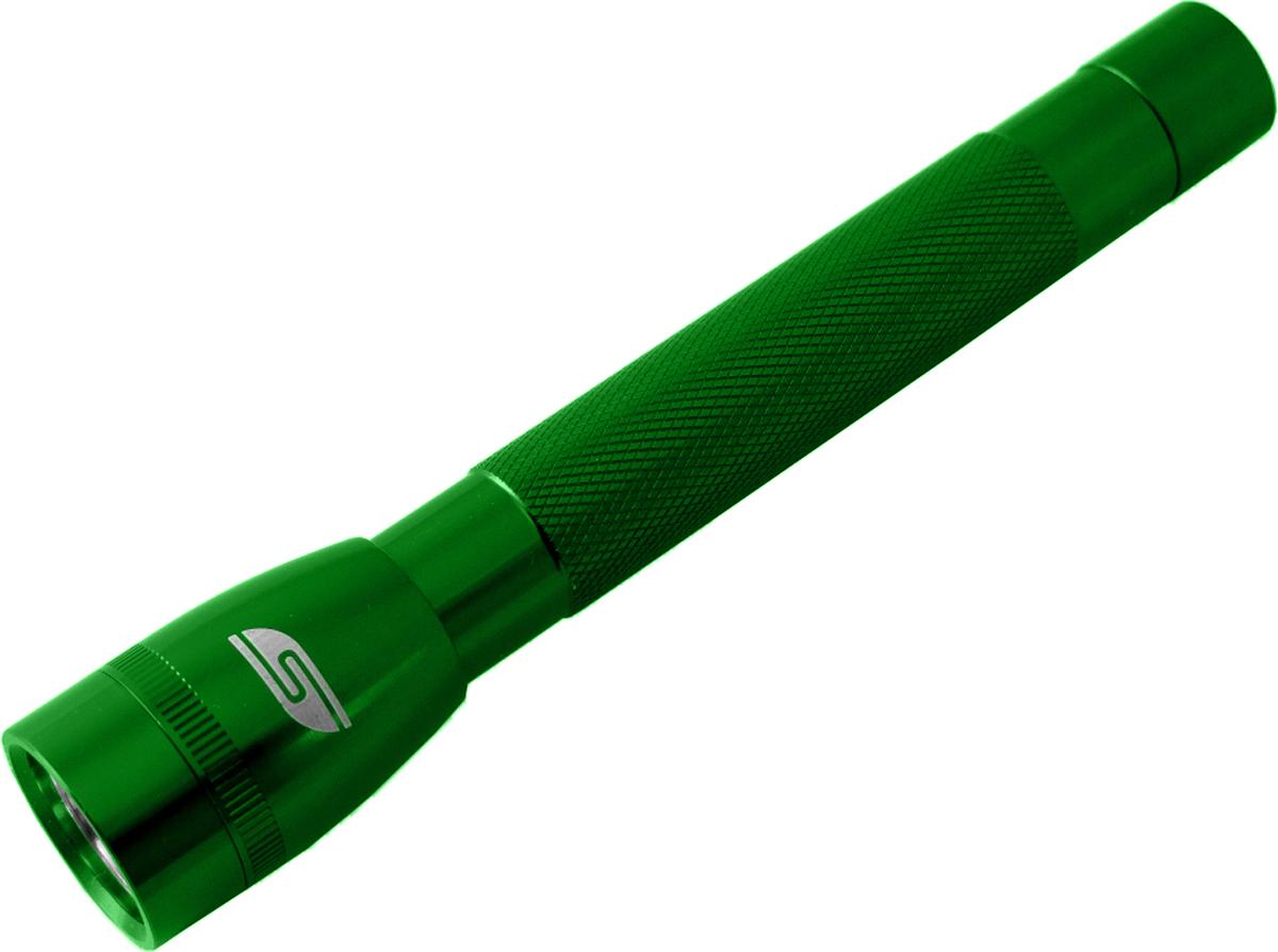Фонарь SolarisF-5, ручной, цвет: зеленый3107greenФонарь влагозащищенный выполнен из качественного алюминия с защитным анодированием корпуса и снабжен современным светодиодом СREE XP-E R2 (США). Мощность светового потока 120 люмен, дальность эффективного излучения света 100 метров. Благодаря небольшим размерам и весу фонарь отлично подходит для ежедневного ношения в качестве карманного. Кнопка включения в хвостовой части фонаря утоплена в корпус, что исключает случайное нажатие в кармане. Фонарь обладает достаточно приличным световым потоком 120 люмен, и может также применяться в качестве основного или вспомогательного туристического фонаря. Особенности конструкции и эксплуатации фонаря SOLARIS F-5: - Один режим работы фонаря. - Кнопка включения расположена в хвостовой части фонаря. - Фонарь работает от двух батарей АА (в комплект не входят). - Время работы фонаря от 2-х батарей АА: 2,5 часа. - Резиновое уплотнение в хвостовике фонаря. Размер: 15,8 см х 27 см