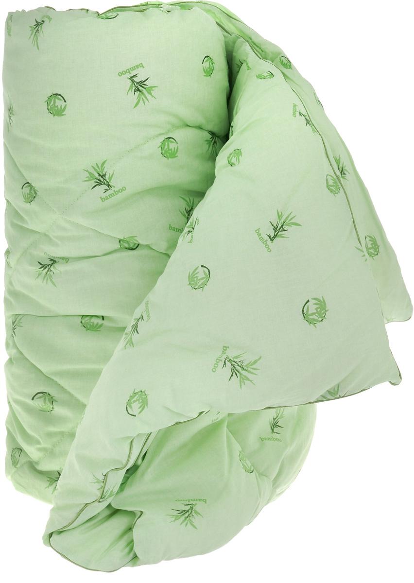 """Легкое одеяло Легкие сны """"Бамбук"""" с наполнителем из  бамбукового волокна расслабит, снимет усталость и подарит  вам спокойный и здоровый сон.  Волокно бамбука - это натуральный материал, добываемый из  стеблей растения. Он обладает способностью быстро  впитывать и испарять влагу, а также антибактериальными  свойствами, что препятствует появлению пылевых клещей и  болезнетворных бактерий. Изделия с наполнителем из  бамбука легко пропускают воздух, создавая охлаждающий  эффект, поэтому им нет равных в жару. Они отличаются  превосходными дезодорирующими свойствами, мягкие,  легкие, нетребовательны в уходе, гипоаллергенные и  подходят абсолютно всем.  Чехол одеяла выполнен из 100% хлопок. Одеяло  простегано. Стежка надежно удерживает  наполнитель внутри и не позволяет ему скатываться.   Можно стирать в стиральной машине при температуре 30°C."""