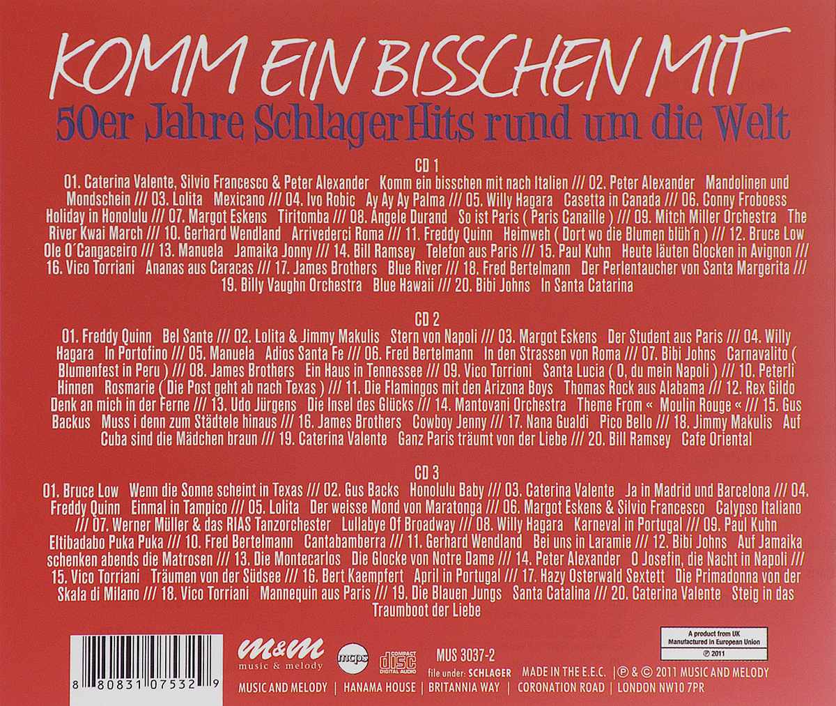 Komm Ein Bisschen Mit.  50er Jahre Schlager Hits Rund Um Die Welt (3 CD) Music& Melody,Союз Мьюзик