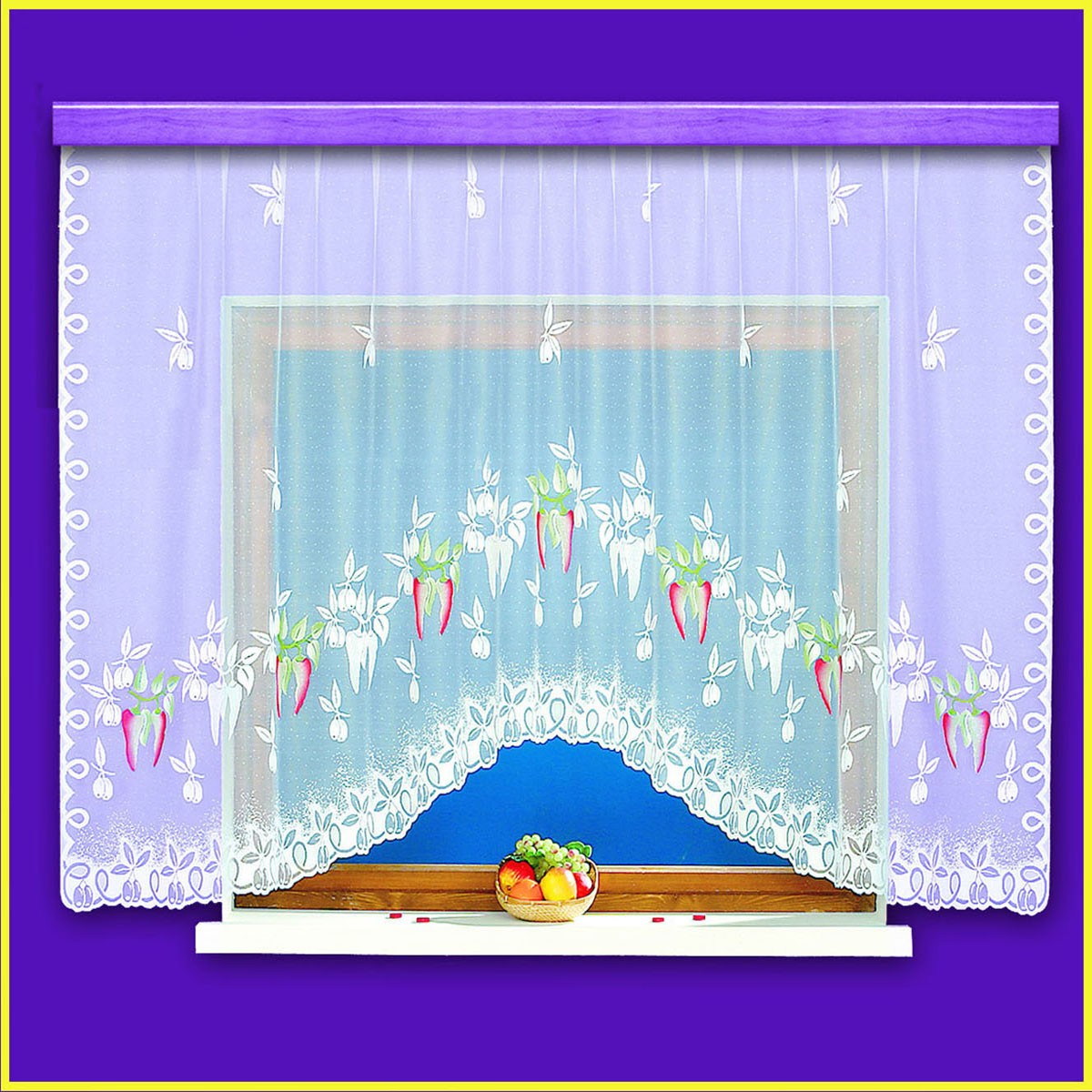 Гардина Haft, цвет: белый, ширина 310 см, высота 160 см10370/160белая жаккардовая гардина с крашенным изображением острого перцаРазмеры: высота 160, ширина 310