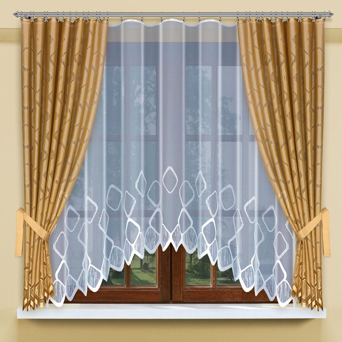 Комплект штор для кухни Haft, цвет: золотистый, высота 170 см200800/160Комплект штор для кухни Haft, состоящий из белого жаккардового тюля, портьер золотистого цвета и подхватов, великолепно украсит любое окно. Комплект имеет оригинальный дизайн и органично впишется в интерьер помещения. Размеры:Тюль: высота 160 см, ширина 300 см;Шторы: высота 170 см, ширина 145 см.