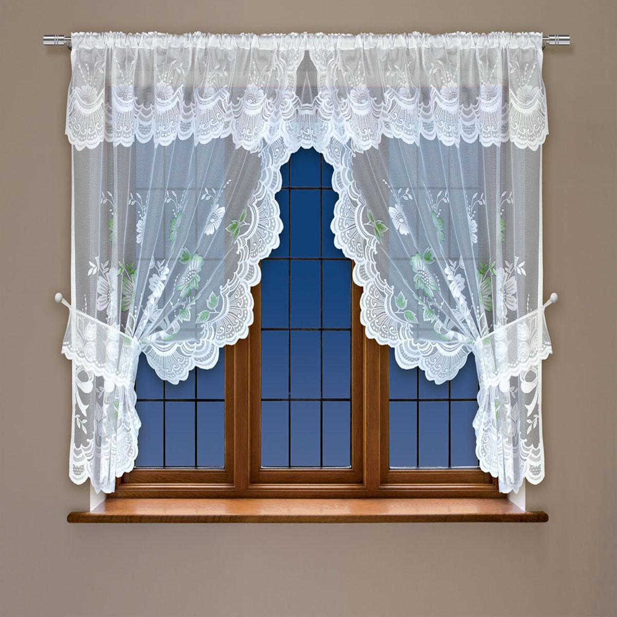 """Воздушная гардина """"Haft"""", выполненная из полиэстера, великолепно украсит любое окно.Изделие имеет оригинальный дизайн и органично впишется в интерьер помещения.  Гардина крепится на карниз при помощи кулиски."""