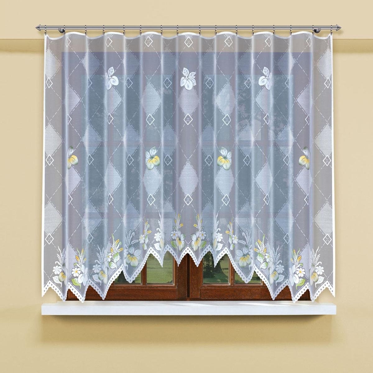 Гардина Haft, цвет: белый, ширина 300 см, высота 160 см. 206900/160206900/160Гардина-арка из жаккардовой ткани, выполненная в белом цвете с чередующимся по тону ромбическим узором и крашенным рисунком цветовРазмеры: высота 160 см*ширина 300см