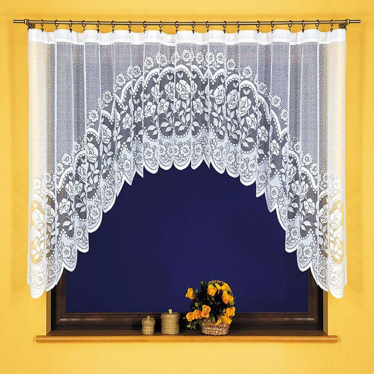 Штора для кухни Wisan, цвет: белый, высота 120 см. 22812281Штора-арка Wisan, выполненная из легкого полупрозрачного полиэстера белого цвета, станет великолепным украшением кухонного окна. Изделие имеет ассиметричную длину и красивый цветочный рисунок по всей поверхности полотна. Качественный материал и оригинальный дизайн привлекут к себе внимание и позволят шторе органично вписаться в интерьер помещения.