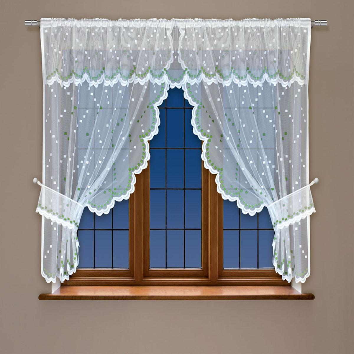 Гардина Haft, на кулиске, цвет: белый, зеленый, высота 137 см. 228410228410/137 зеленыйВоздушная гардина Haft, выполненная из полиэстера, великолепно украсит любое окно.Изделие имеет оригинальный дизайн и органично впишется в интерьер помещения.Гардина крепится на карниз при помощи кулиски.