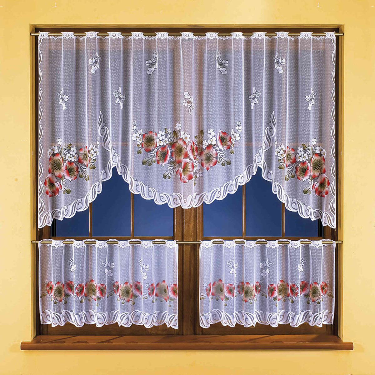 Гардина Wisan, цвет: белый, высота 45 см3261Жаккардовый комплект гардин белого цвета с цветным узором, состоящий из гардинного полотна для верхней части окна, а также двух шторок-кафе для нижней. Крепится на штангу с помощью специальных прорезей.Размеры: ширина 250смх высота100см+ (ширина125смх высота 45смх)2