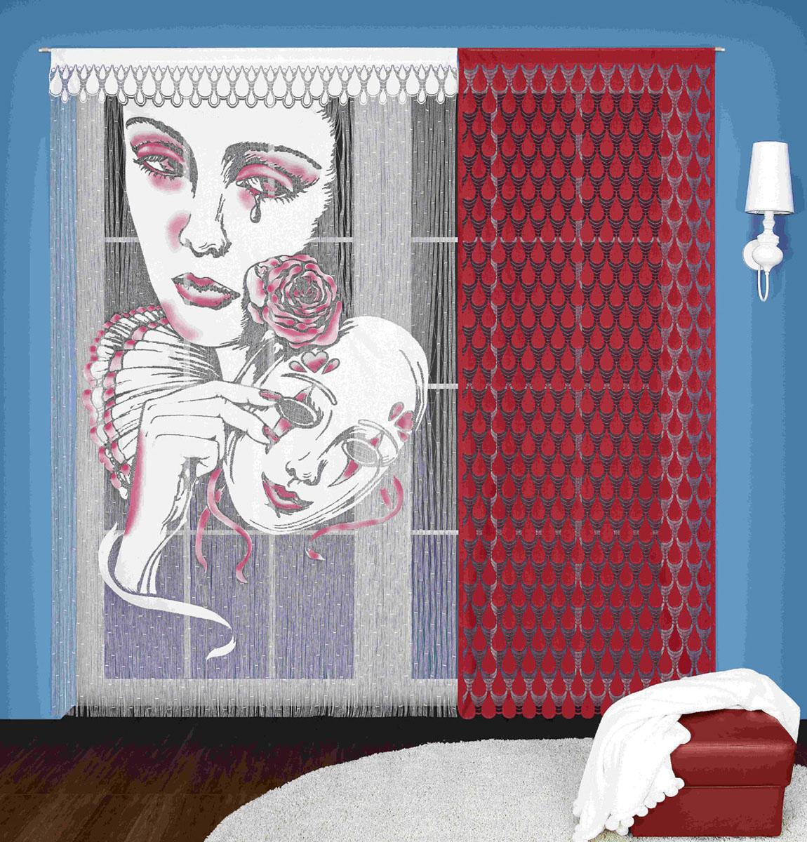 Гардина-лапша Wisan, цвет: бордовый, высота 240 см3348Гардинное полотно Пьеро, состоящее из двух отдельных частей . Крепится на кулиску.Размеры: ширина 150* высота 240, ширина 90* высота 240