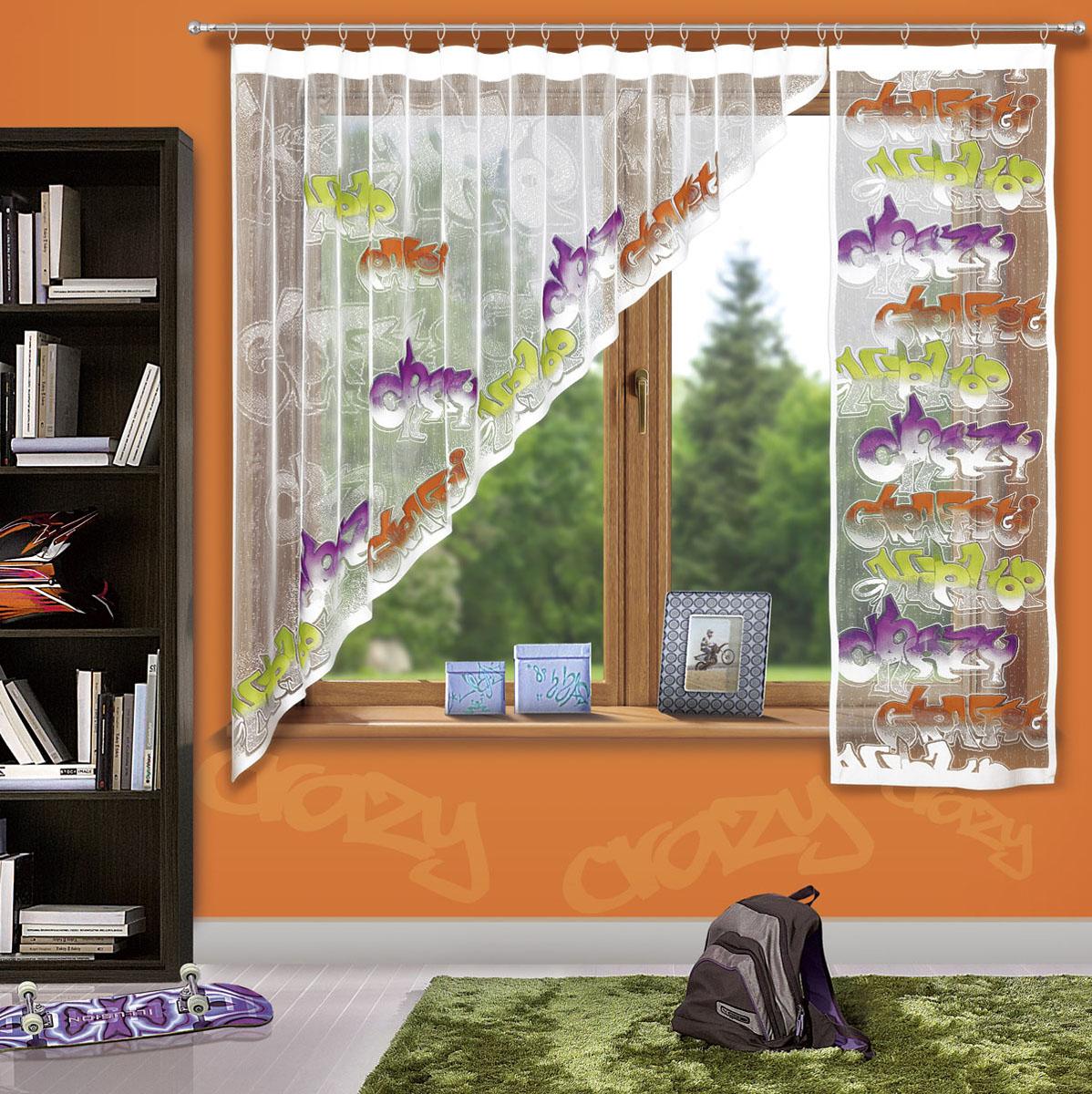 Гардина Wisan, цвет: белый, высота 180 см3359Жаккардовая гардина в детскую комнату с цветным узором тематики граффити. Состоит из двух частей. Крепится на кулиску.Размеры: ширина 300х высота 180+ ширина 60х высота 180
