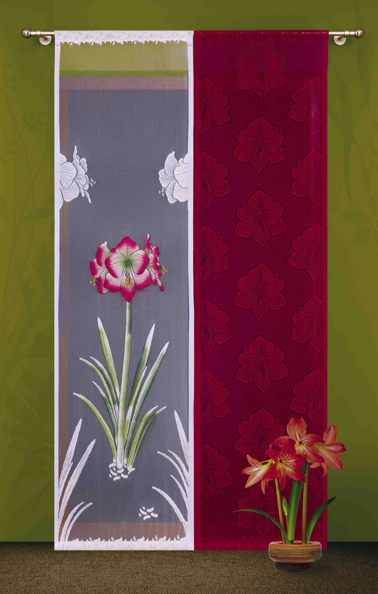 Гардина-панно Wisan, цвет: бордовый, белый, высота 240 см