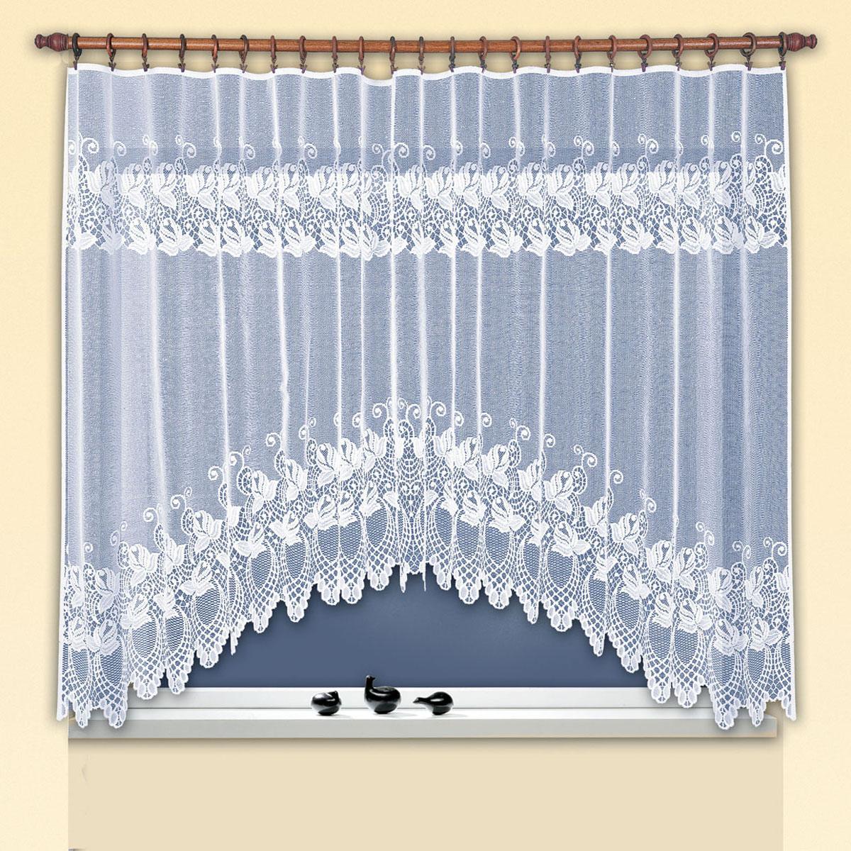 Гардина Haft, цвет: белый, ширина 300 см, высота 160 см. 38180/16038180/160Жаккардовая гардина-арка белого цвета для комплекта под балконный блокРазмеры: высота 160см* ширина300см