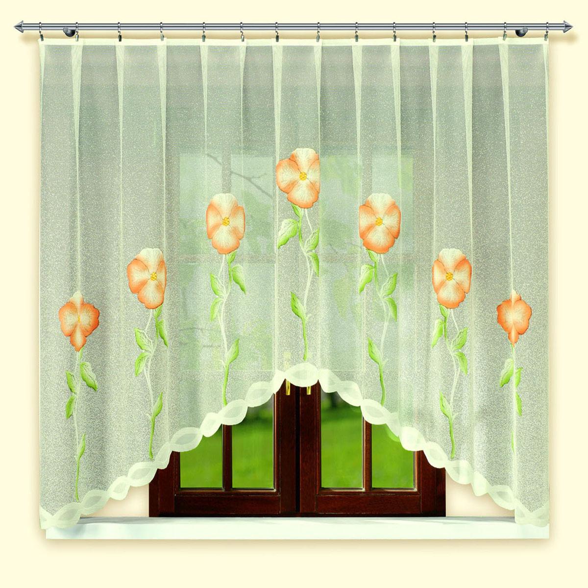 Гардина Haft, цвет: белый, ширина 300 см, высота 160 см. 46010/16046010/160Жаккардовая гардина-арка кремового цвета с цветным рисунком. Высота 160 смРазмеры: высота 160см*ширина 300см