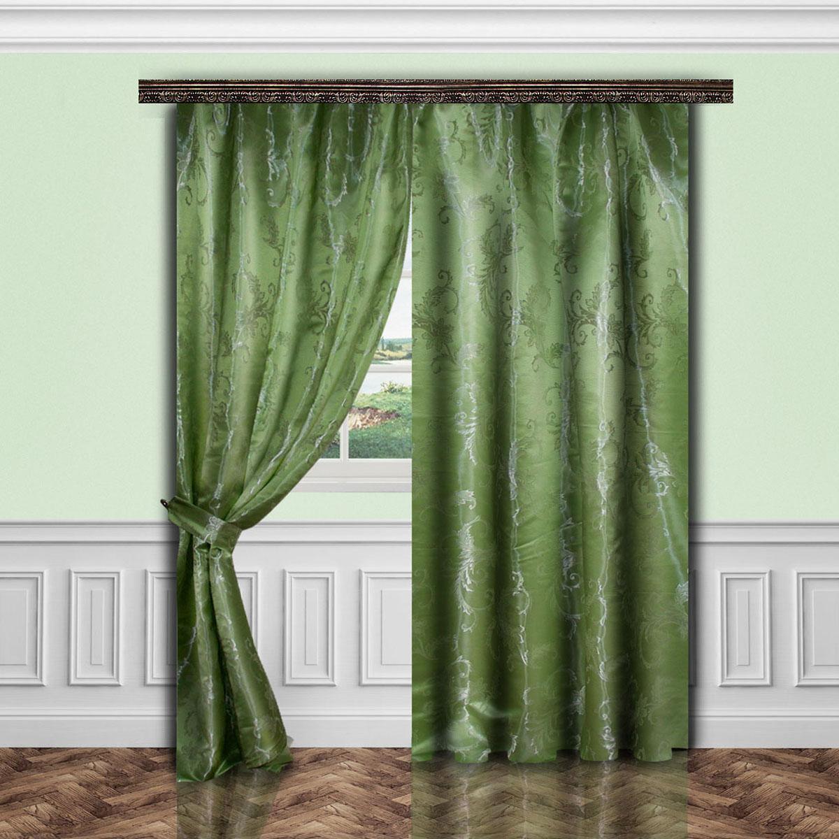Комплект штор Zlata Korunka, на ленте, цвет: зеленый, высота 260 см. 5564055640Роскошный комплект штор Zlata Korunka, выполненный из полиэстера,великолепно украсит любое окно. Комплект состоит двух штор и двух подхватов.Изящный узор и приятная цветовая гамма привлекут к себевнимание и органично впишутся в интерьер помещения.Этот комплект будет долгое время радовать вас и вашу семью! Комплект крепится на карниз при помощи ленты, которая поможет красиво иравномерно задрапировать верх.В комплект входит:Штора: 2 шт. Размер (Ш х В): 145 см х 260 см. Подхват: 2 шт.