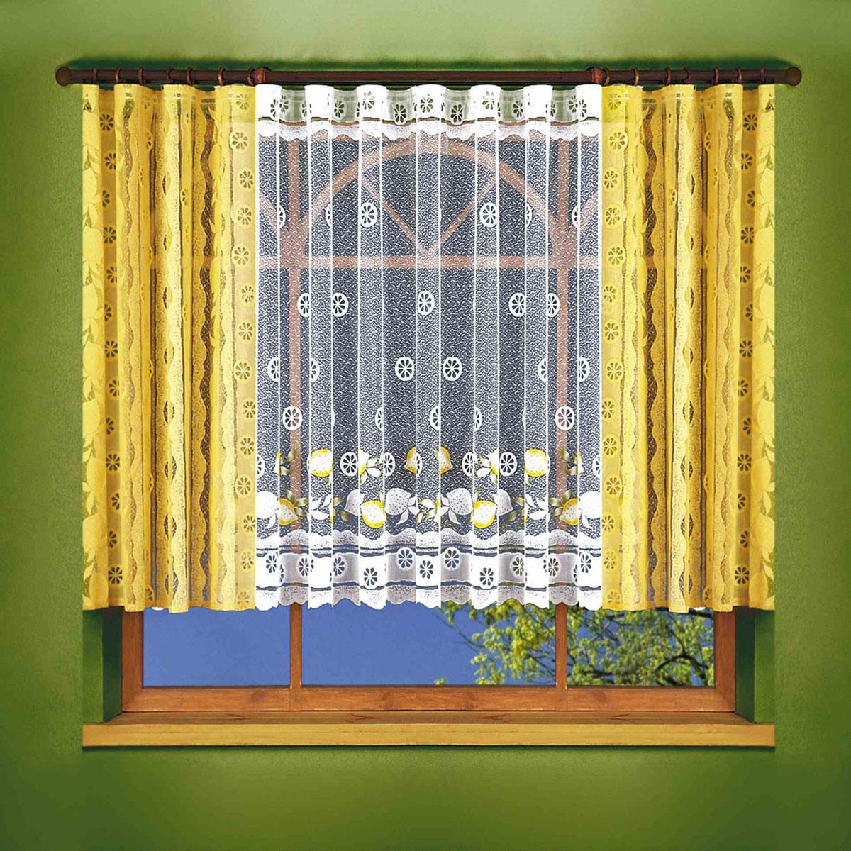 Комплект штор Wisan, на ленте, цвет: желтый, высота 150 см. 61096109Жаккардовый комплект штор Wisan на шторной ленте. Комплект органично впишется в интерьер любой комнаты. В набор входит две шторы желтого цвета, тюль белого цвета Размеры: тюль - 400 х 150 см, шторы - 150 х 150 см.