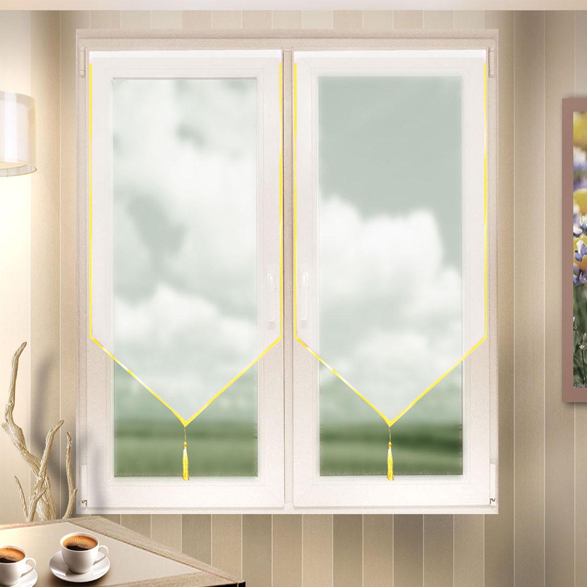 Гардина Zlata Korunka, на липкой ленте, цвет: белый, высота 120 см. 666022/1666022/1Лучшая альтернатива рулонным шторам на кухне - шторы на липкой ленте. Особенность этих штор заключается в том, что они имеют липкую основу в месте крепления. Лента или основа надежно и быстро крепится на раму окна, а на нее фиксируется сама штора. Гардина на липкой ленте Zlata Korunka, изготовленная из легкого полиэстера, станет великолепнымукрашением любого окна. Полотно привлечет ксебе внимание и органично впишется в интерьер комнаты.