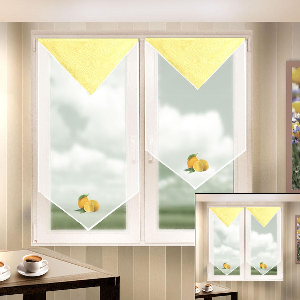 Гардина Zlata Korunka, на липкой ленте, цвет: белый, желтый, высота 90 см. 666047-2