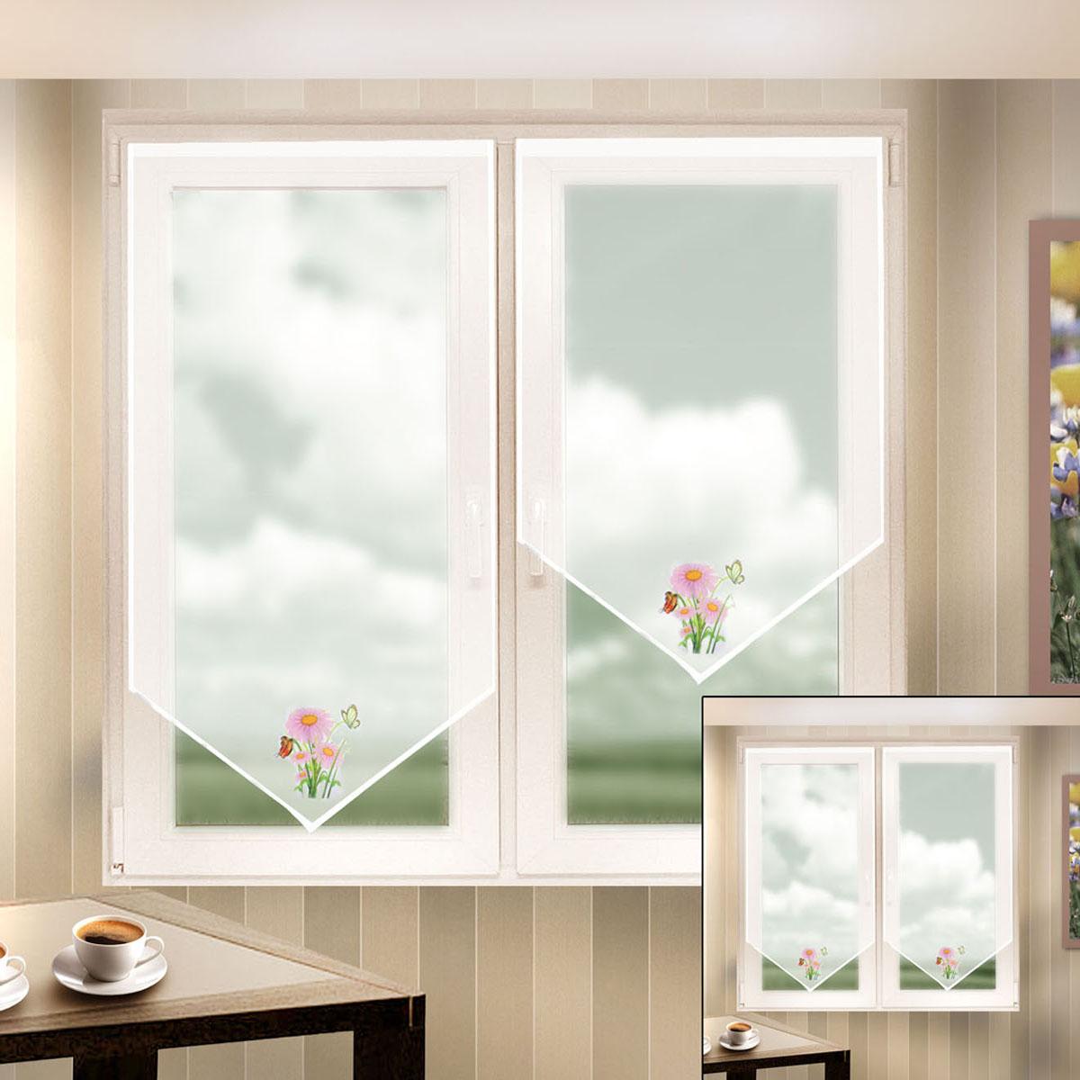 Гардина Zlata Korunka, на липкой ленте, цвет: белый, высота 140 см. 666049666049Гардина на липкой ленте Zlata Korunka, изготовленная из легкого полиэстера, станет великолепным украшением любого окна. Полотно из белой вуали с печатным рисунком привлечет к себе внимание и органично впишется в интерьер комнаты. Крепление на липкой ленте, не требующее сверления стен и карниза. Многоразовое и мгновенное крепление.