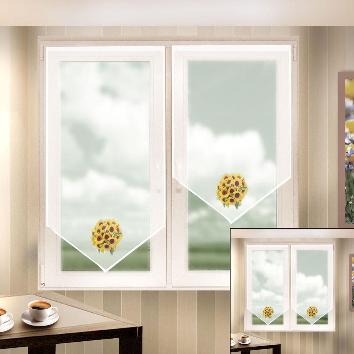 Гардина Zlata Korunka, на липкой ленте, цвет: белый, высота 90 см, 2 шт. 666055-2666055-2Гардина на липкой ленте Zlata Korunka, изготовленная из легкого полиэстера, станет великолепным украшением любого окна. Полотно из белой вуали с печатным рисунком привлечет к себе внимание и органично впишется в интерьер комнаты. Крепление на липкой ленте, не требующее сверления стен и карниза. Многоразовое и мгновенное крепление.