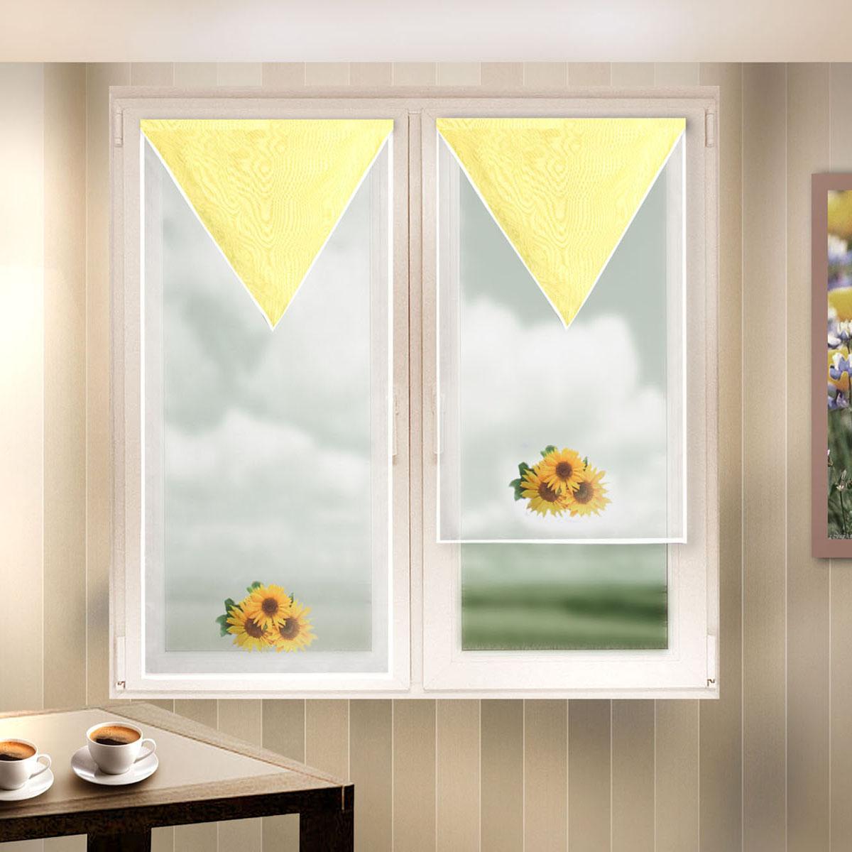 Гардина Zlata Korunka, на липкой ленте, цвет: белый, желтый, высота 90 см, 2 шт. 666056-2 zlata korunka женские платки носовые 3 шт