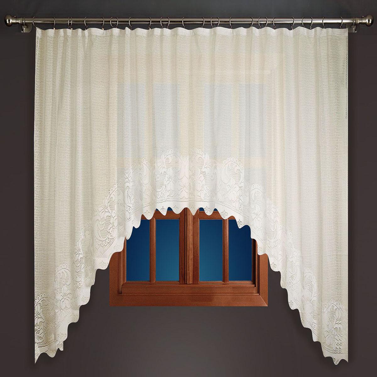 Гардина Zlata Korunka, на зажимах, цвет: бежевый, высота 180 см. 8886588865Гардина-арка Zlata Korunka, изготовленная из высококачественного полиэстера, станет великолепным украшением любого окна. Изящный цветочный узор привлечет к себе внимание и органично впишется в интерьер комнаты. Оригинальное оформление гардины внесет разнообразие и подарит заряд положительного настроения.Крепится на зажимах для штор (не входят в комплект).