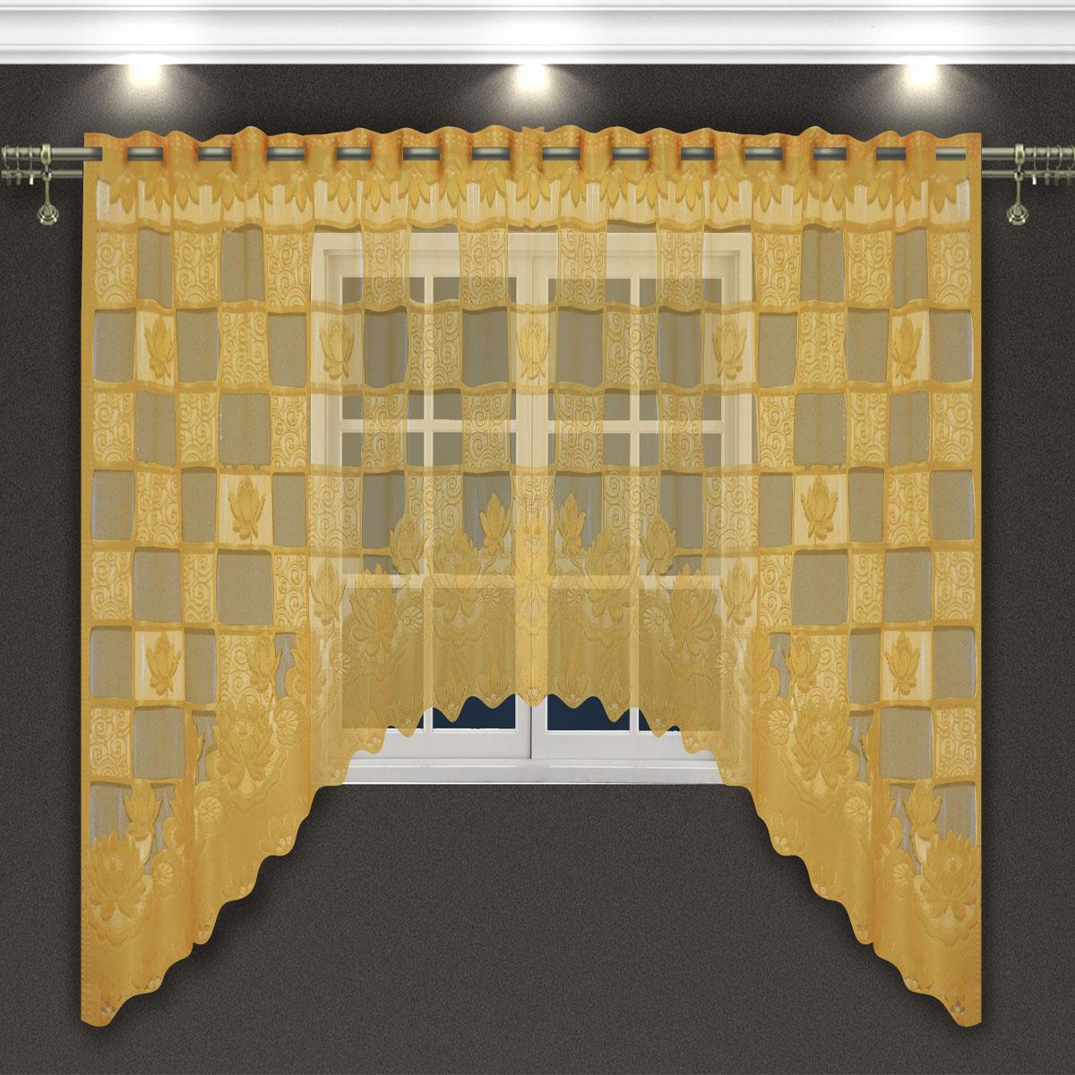 Гардина Zlata Korunka, цвет: золотистый, высота 160 см. 8887188871Гардина-арка Zlata Korunka, изготовленная из высококачественного полиэстера, станет великолепным украшением любого окна. Оригинальное оформление гардины внесет разнообразие и подарит заряд положительного настроения.Крепится через прорези, сделанные в верхней части, или на зажимы для штор.