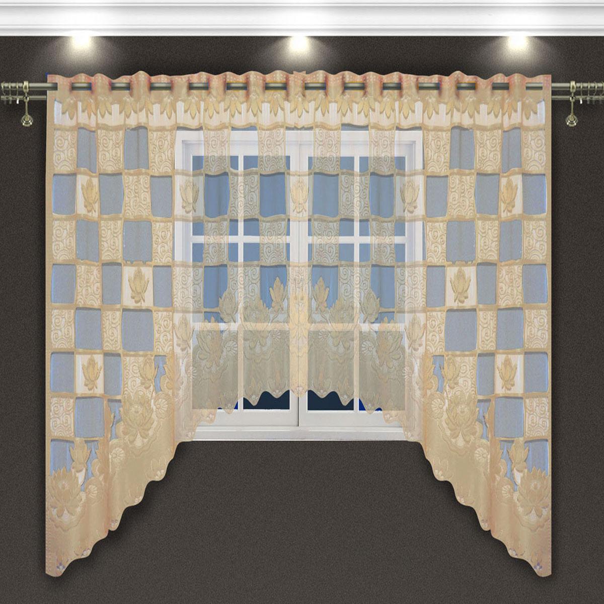 Гардина Zlata Korunka, цвет: кремовый, высота 160 см. 8887288872Гардина-арка Zlata Korunka, изготовленная из высококачественного полиэстера, станет великолепным украшением любого окна. Оригинальное оформление гардины внесет разнообразие и подарит заряд положительного настроения.Крепится через прорези, сделанные в верхней части, или на зажимы для штор.