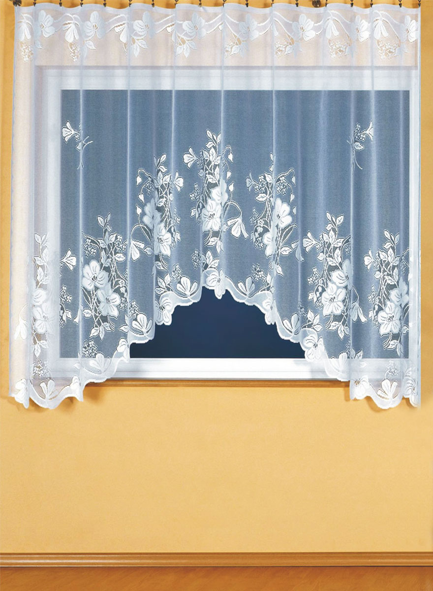Штора для кухни Wisan, на ленте, цвет: белый, высота 180 см. 91619161Штора Wisan, выполненная из легкого полупрозрачного полиэстера белого цвета, станет великолепным украшением кухонного окна. Изделие имеет ассиметричную длину и красивый цветочный рисунок по всей поверхности полотна. Качественный материал и оригинальный дизайн привлекут к себе внимание и позволят шторе органично вписаться в интерьер помещения. Штора оснащена шторной лентой под зажимы для крепления на карниз.