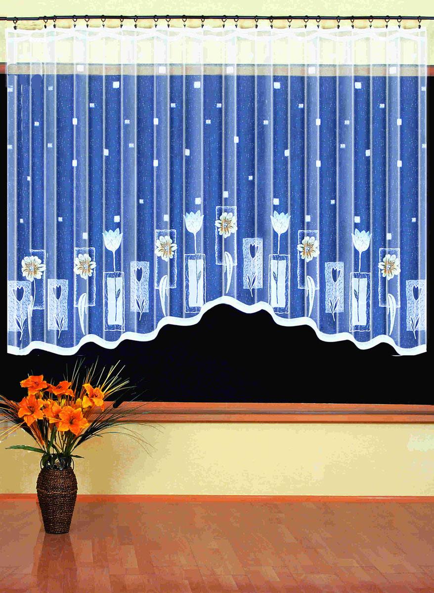 Гардина Wisan, цвет: белый, ширина 350 см, высота 170 см. 93939393вид крепления - под зажимы для шторРазмеры: шир.350*выс.170