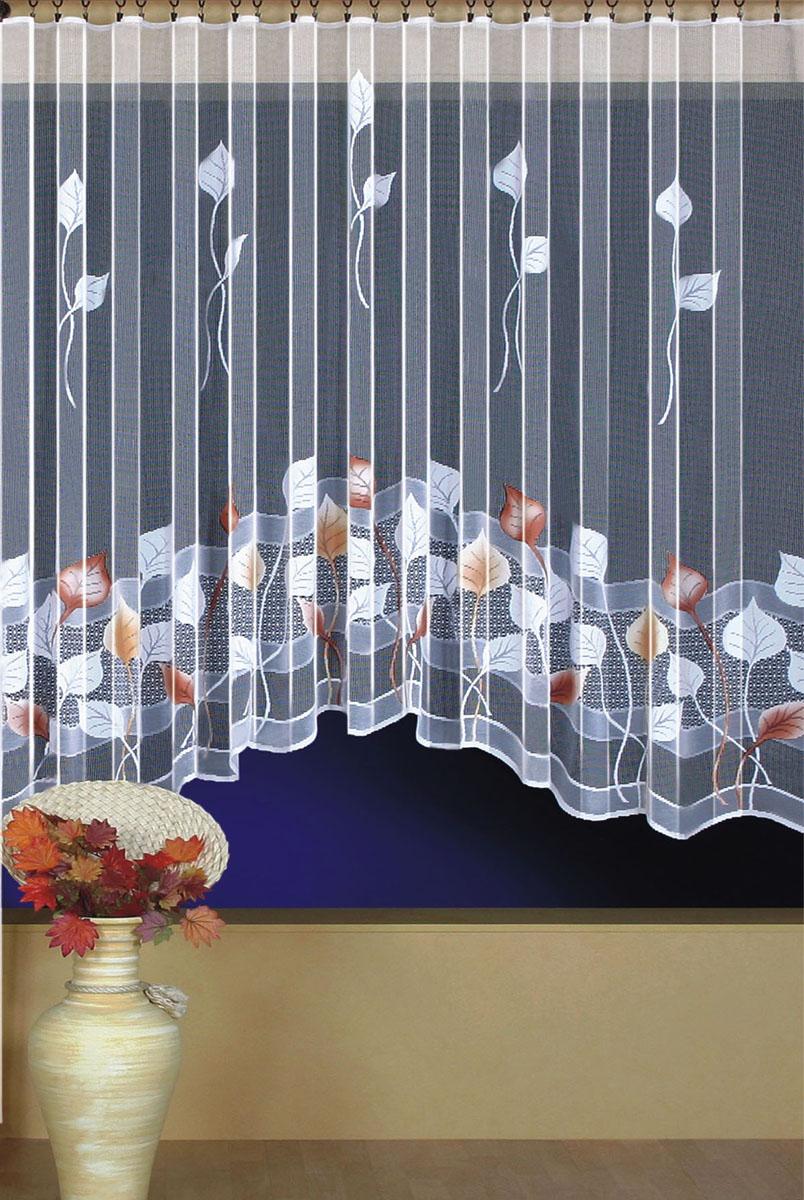 Штора для кухни Wisan, на ленте, цвет: белый, бордовый, высота 180 см. 93969396Штора Wisan, выполненная из легкого полупрозрачного полиэстера белого цвета, станет великолепным украшением кухонного окна. Изделие имеет ассиметричную длину и красивый рисунок в виде листьев по краю. Качественный материал и оригинальный дизайн привлекут к себе внимание и позволят шторе органично вписаться в интерьер помещения. Штора оснащена шторной лентой под зажимы для крепления на карниз.