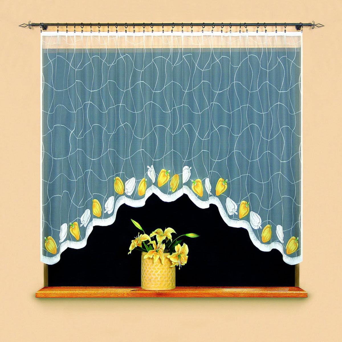 Гардина Wisan, цвет: белый, ширина 220 см, высота 120 см. 95069506вид крепления - под зажимы для шторРазмеры: 220*120