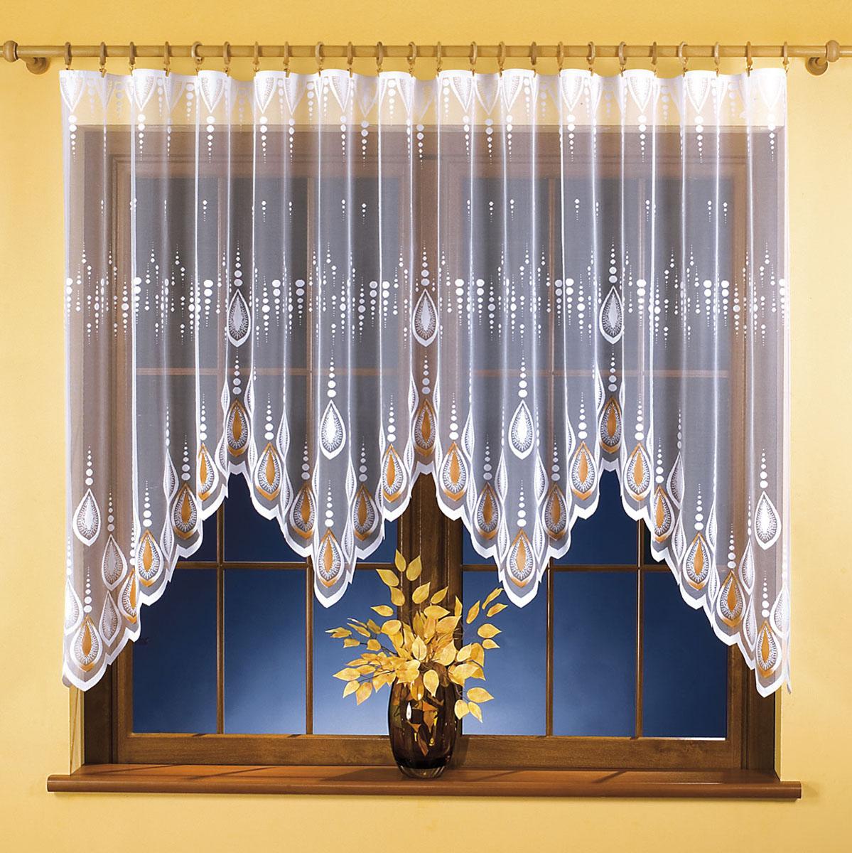 Штора для кухни Wisan, на ленте, цвет: белый, оранжевый, высота 120 см. 95189518Штора Wisan, выполненная из легкого полупрозрачного полиэстера белого цвета, станет великолепным украшением кухонного окна. Изделие имеет ассиметричную длину и красивый орнамент по краю. Качественный материал и оригинальный дизайн привлекут к себе внимание и позволят шторе органично вписаться в интерьер помещения. Штора оснащена шторной лентой под зажимы для крепления на карниз.