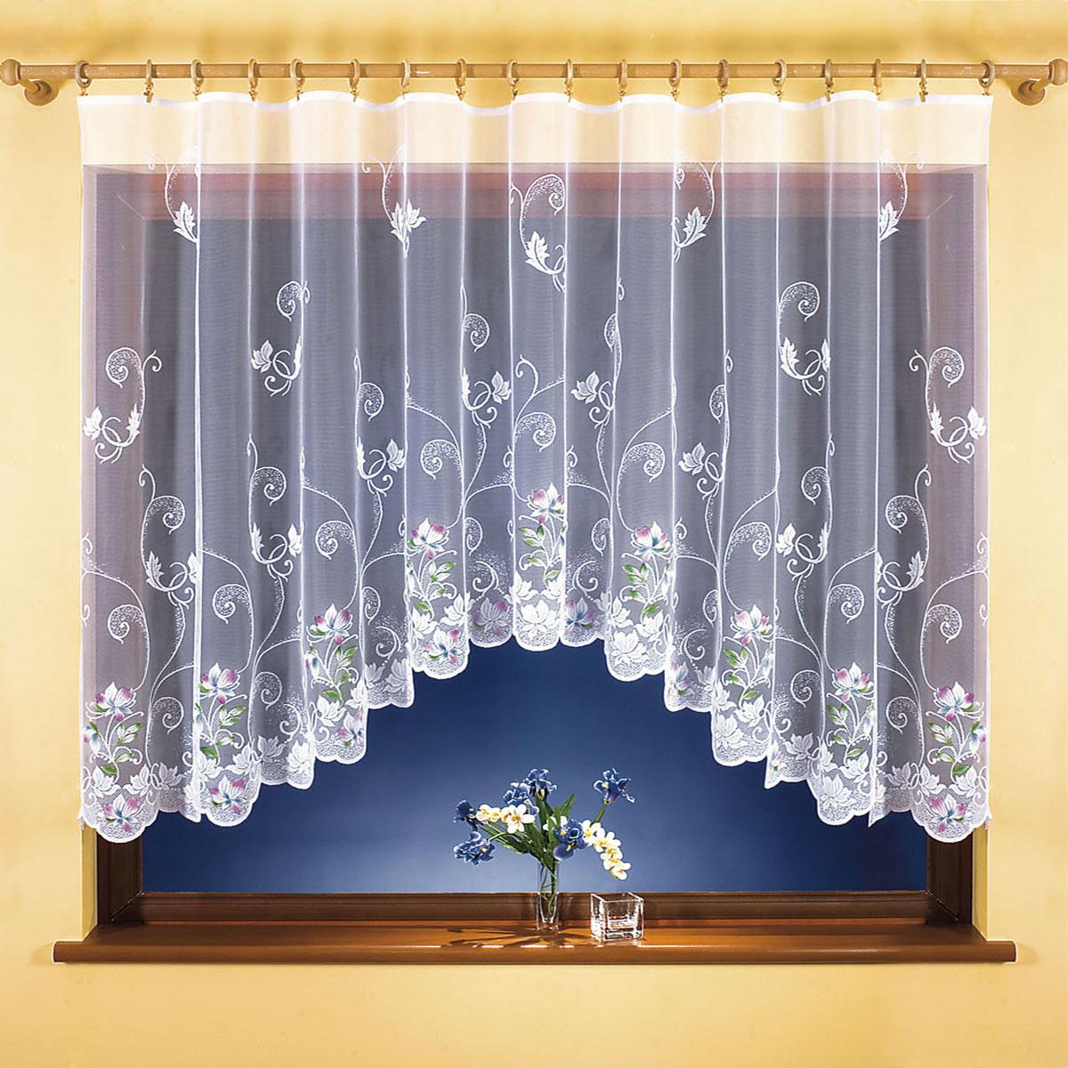 Штора для кухни Wisan, на ленте, цвет: белый, высота 150 см. 98329832Штора Wisan, выполненная из легкого полупрозрачного полиэстера белого цвета, станет великолепным украшением кухонного окна. Изделие имеет ассиметричную длину и красивый цветочный рисунок по всей поверхности полотна. Качественный материал и оригинальный дизайн привлекут к себе внимание и позволят шторе органично вписаться в интерьер помещения. Штора оснащена шторной лентой под зажимы для крепления на карниз.