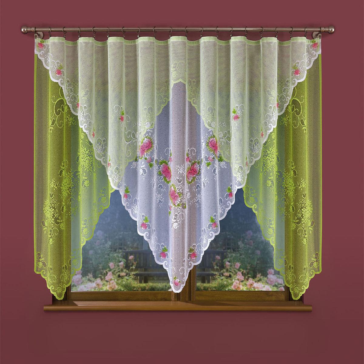Гардина Wisan, цвет: белый, зеленый, ширина 300 см, высота 150 см. 655W655Wвид крепления - под зажимы для шторРазмеры: ширина 300*высота 150