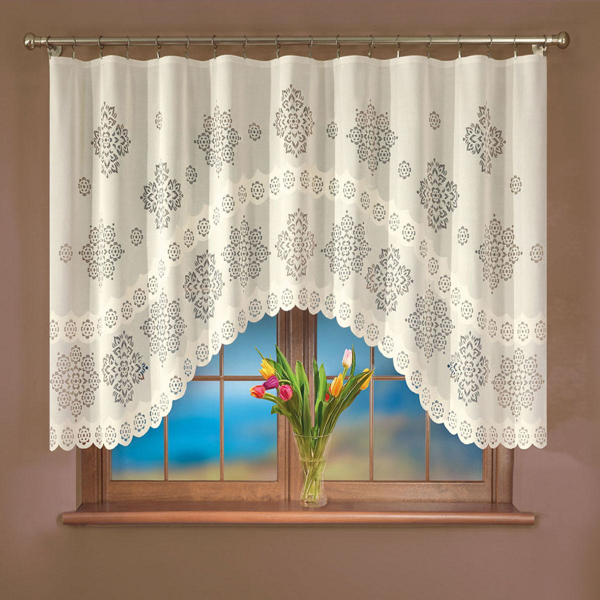 Гардина Wisan, цвет: кремовый, ширина 250 см, высота 120 см. 109Е комплект штор для кухни wisan celina на ленте цвет белый оранжевый высота 180 см