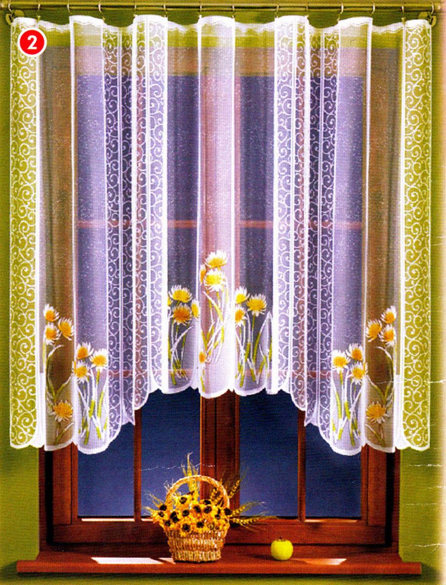 Гардина Wisan, цвет: белый, ширина 240 см, высота 130 см. 154А154АЖаккардовая гардина белого цвета с цветным рисунком, ширина 240* высота 130Размеры: ширина 240* высота 130
