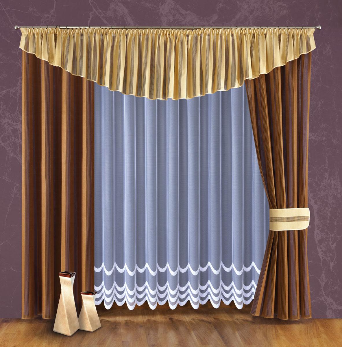 Комплект штор Wisan, цвет: коричневый, бежевый, высота 240 см. 094W094WЖаккардовый комплект штор, состоящий из двух портьер. Среднее затемнение пространстваРазмеры: тюль шир.400* выс.240, шторы (шир150* выс.240)*2, ламбрекен шир.500* выс.55