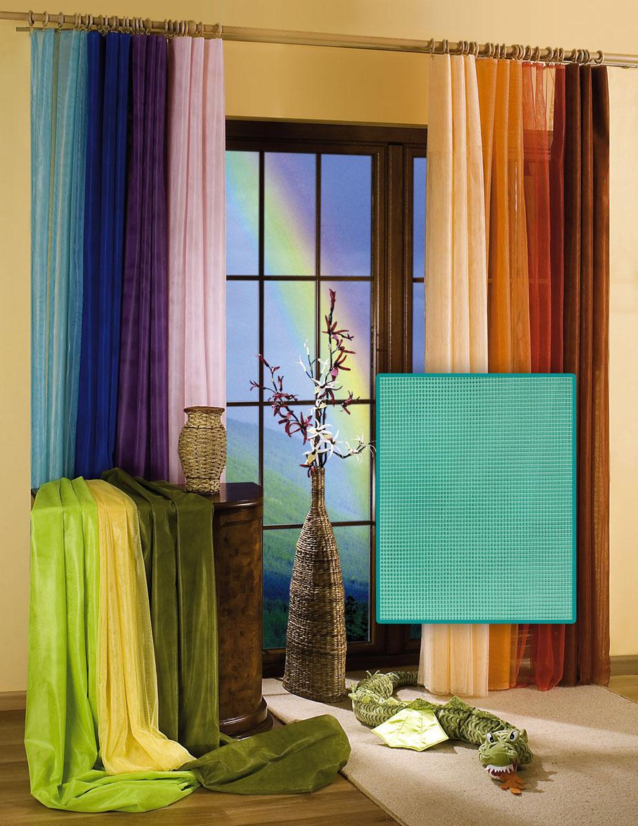 Гардина Wisan, цвет: бирюзовый, ширина 150 см, высота 250 см5896 бирюзовыйГардина-тюль из жесткой сеточки, с вшитой шторной лентой.Размеры: ширина 150* высота 250