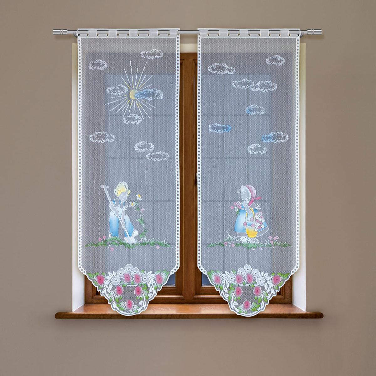 Гардина Haft, цвет: белый, высота 120 см. 4244D/604244D/60Гардина имеет в верхней части полотна прорези, через которые гардина-витраж вывешивается на карниз или можно крепить на зажим для штор,котрый в комплект не входит.Комплект состоит из двух полотен (выс.120* шир.60) Размеры: (высота 120* ширина 60)*2