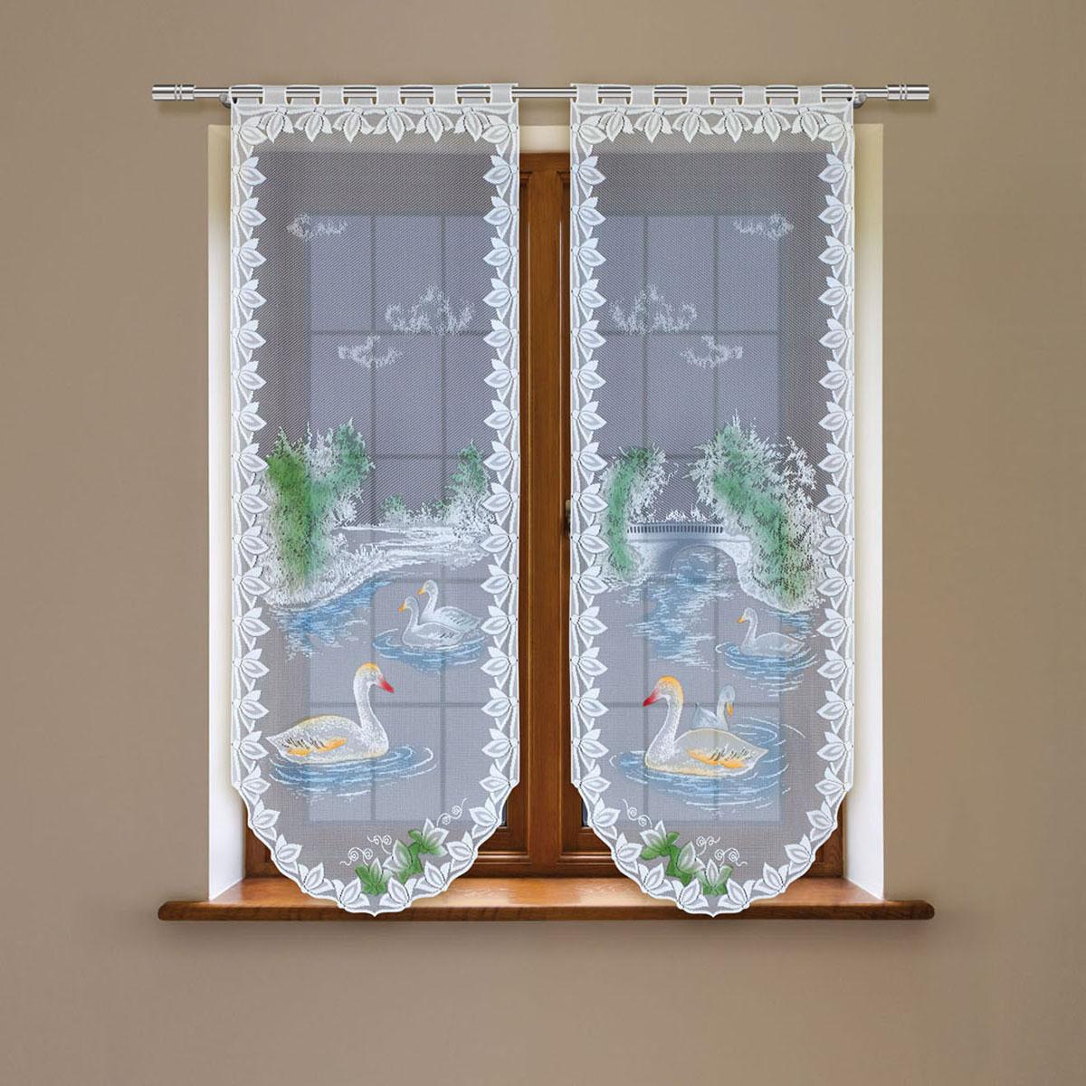 Гардина Haft, цвет: белый, высота 160 см. 4243С/604243С/60Гардина имеет в верхней части полотна прорези, через которые гардина-витраж вывешивается на карниз или можно крепить на зажим для штор,котрый в комплект не входит.Комплект состоит из двух полотен (выс.160* шир.60) Размеры: (высота 160* ширина 60)*2
