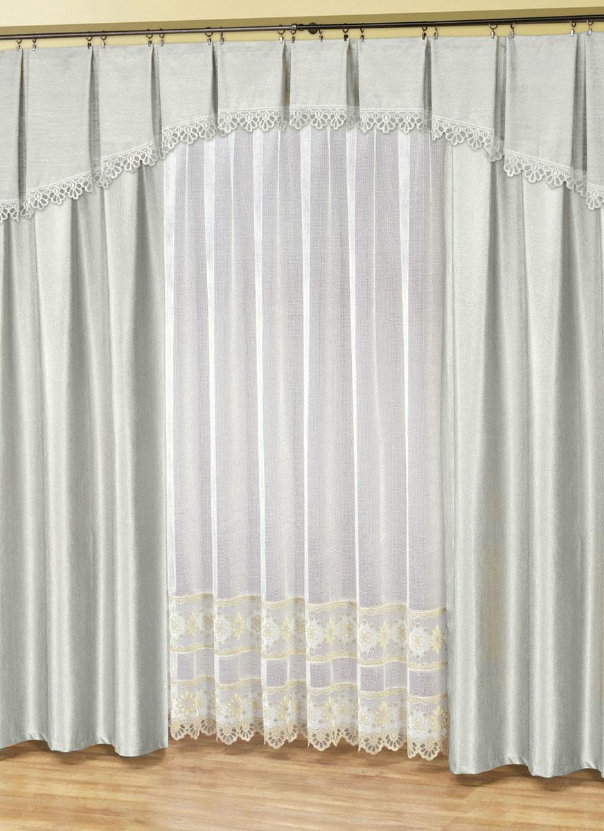 Комплект штор Haft, цвет: стальной, высота 250 см. 28890/25028890/250Комплект штор в спальню, состоящий из двух портьер стального цвета из плотной жаккардовой ткани, ламбрекена в тон в виде арки из той же ткани, украшенного кружевом и тюля в мелкую сетку с узором цвета золото. Хорошее затемнение пространства, 85-90%Размеры: тюль-ширина 500смх высота 250см,шторы- (высота 250смх ширина 170см)х2,ламбрекен высота 40см*ширина 500см