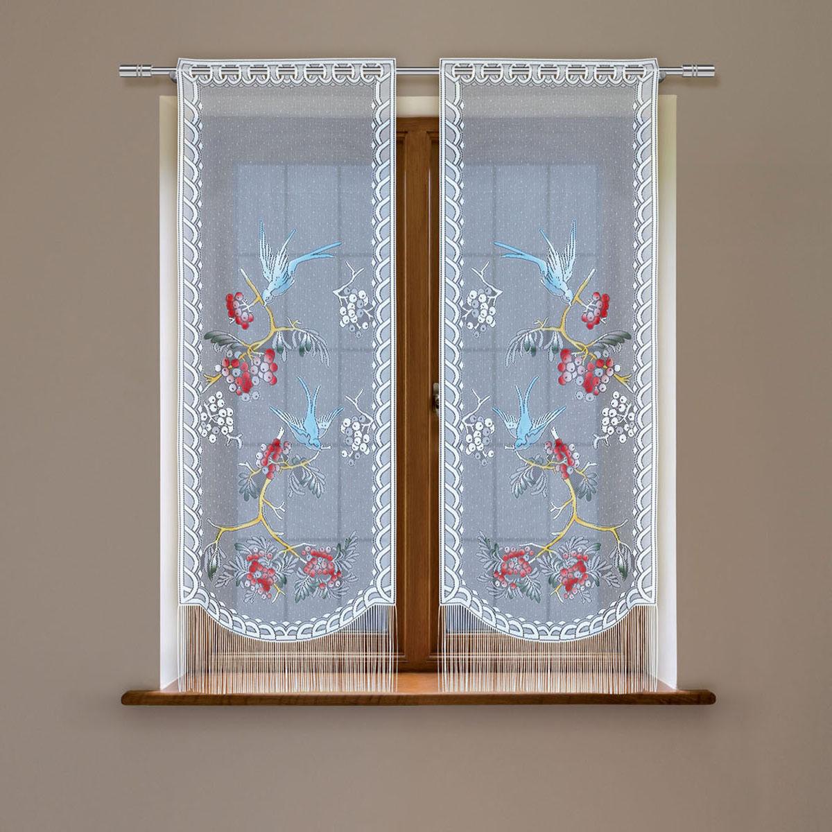 Комплект гардин Haft, на петлях, цвет: белый, высота 160 см, 2 шт. 5383С