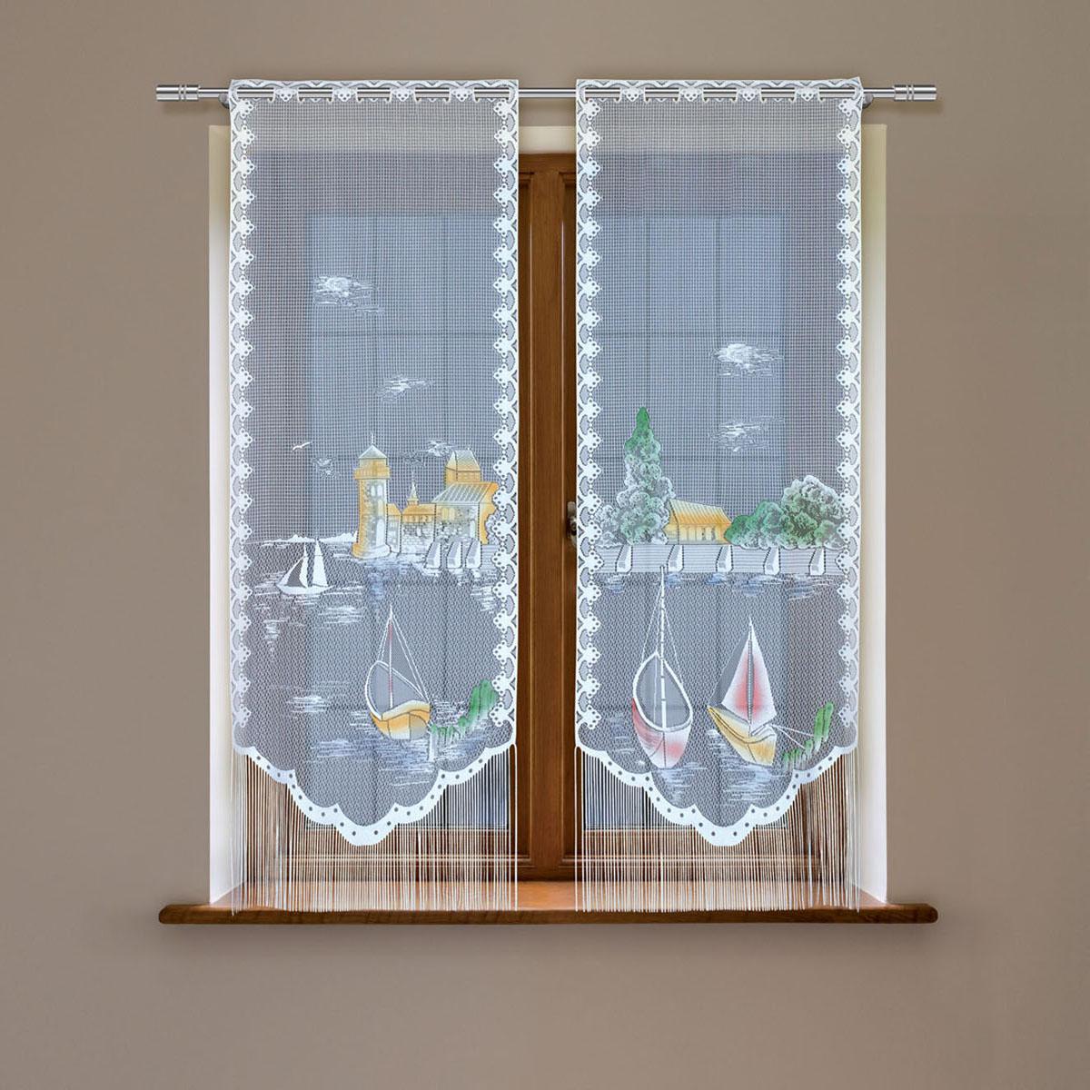 Гардина Haft, цвет: белый, высота 160 см. 5380С/605380С/60Гардина имеет в верхней части полотна прорези, через которые гардина-витраж вывешивается на карниз или можно крепить на зажим для штор,котрый в комплект не входит.Комплект состоит из двух полотен (выс.160* шир.60) Размеры: (высота 160* ширина 60)*2