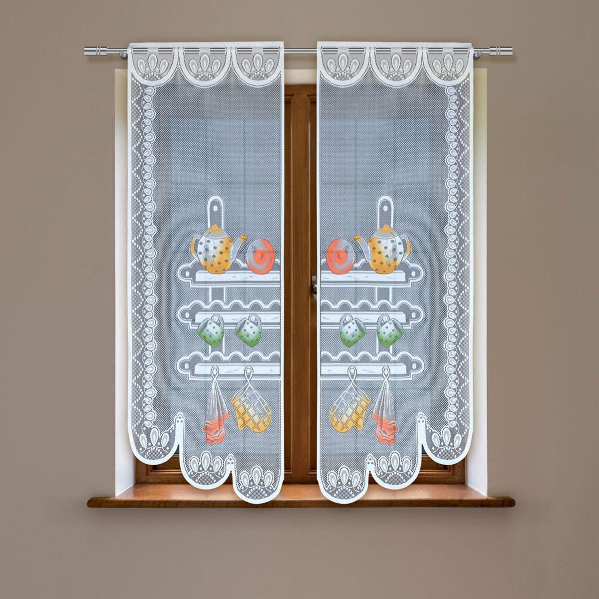 Гардина Haft, цвет: белый, высота 220 см. 8603Е/608603Е/60Гардина имеет в верхней части полотна прорези, через которые гардина-витраж вывешивается на карниз или можно крепить на зажим для штор,котрый в комплект не входит.Комплект состоит из двух полотен (выс.220* шир.60) Размеры: (высота 220* ширина 60)*2