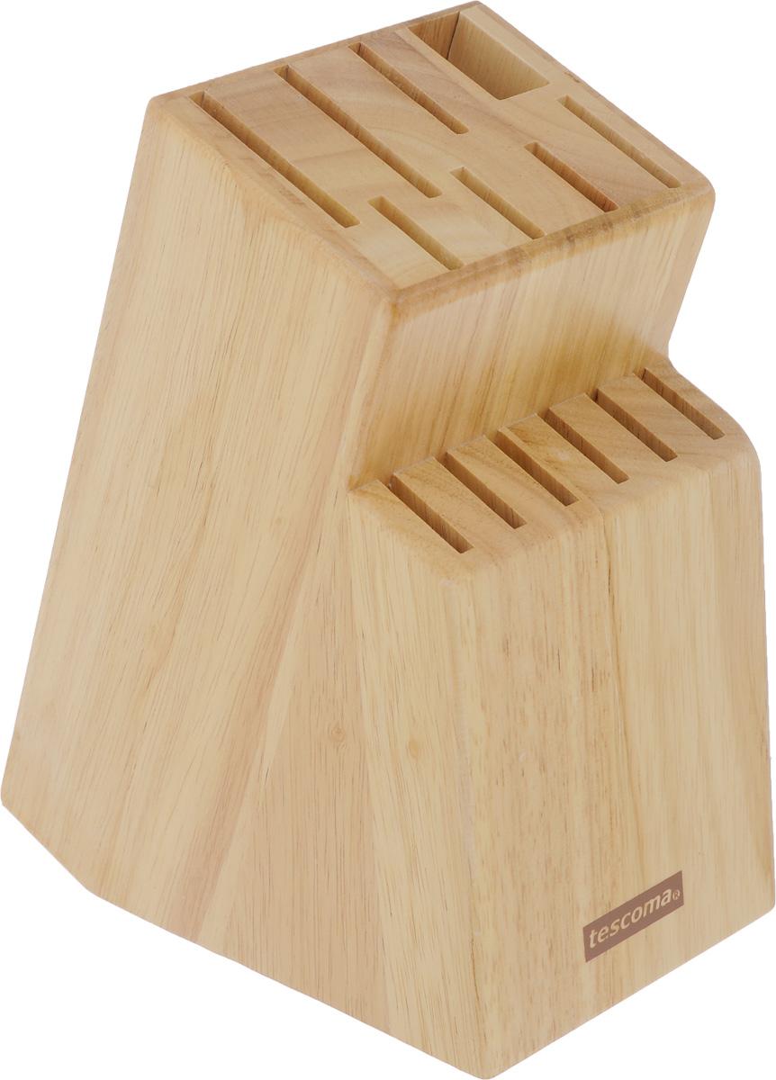 """Блок Tescoma """"Woody"""", изготовленный из специальной благородной древесины – каучука бразильского, обеспечивает безопасное хранение ножей.  Блок имеет 13 отверстий для ножей и 1 отверстие для  ножниц или точилки. Изделие оснащено противоскользящими резиновыми накладками.  Нельзя мыть в посудомоечной машине."""