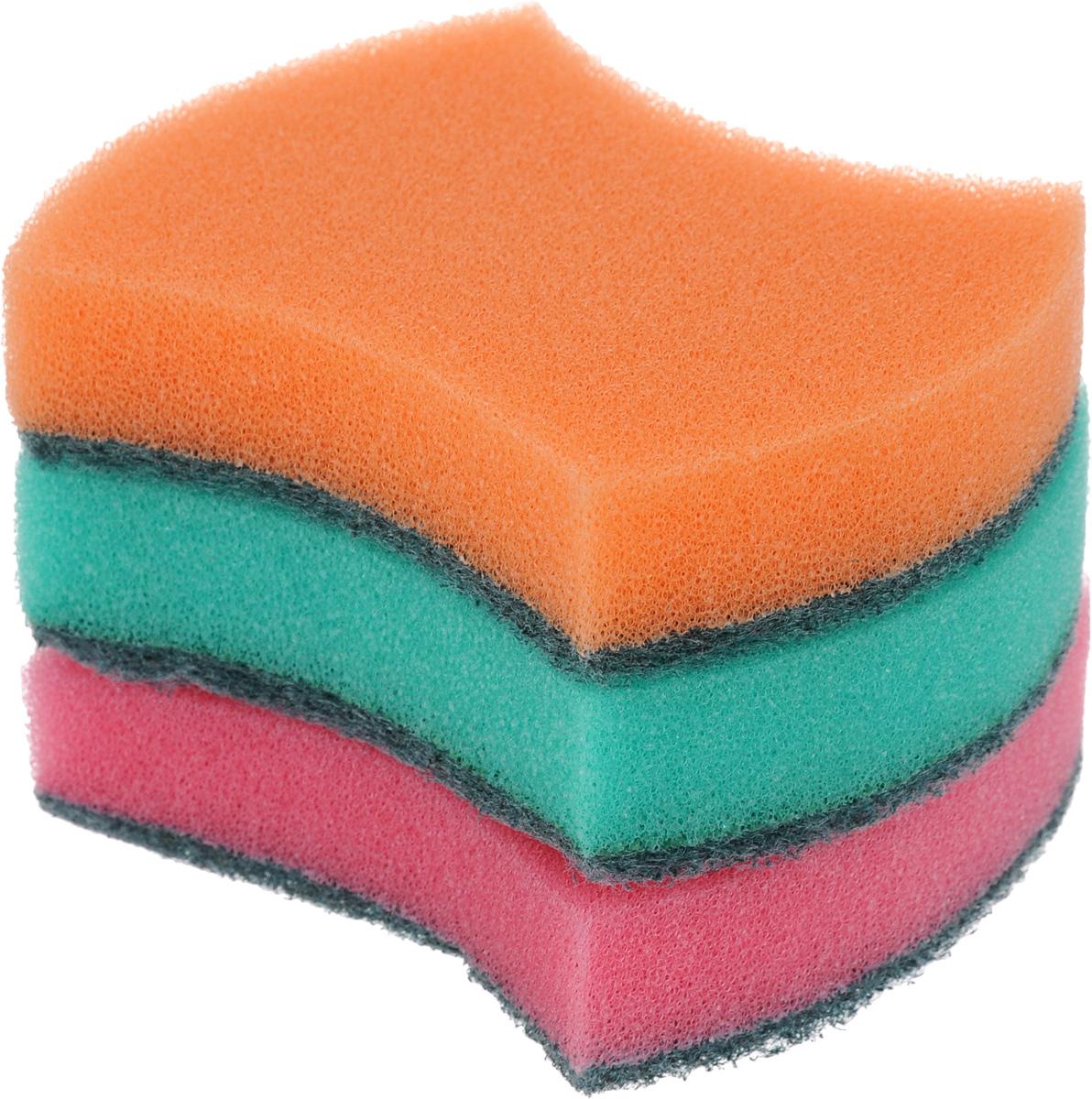 Губка универсальная Фэйт Модерн, цвет: розовый, оранжевый, бирюзовый, 3 шт1.4.01.008Универсальная губка Фэйт Модерн, изготовленная из особо прочного поролона и абразива, прекрасно впитывает влагу, не оставляет ворсинок и разводов, быстро сохнет. Предназначена для мытья любых поверхностей. Размер губки: 9 х 7 х 2,5 см. Комплектация: 3 шт.