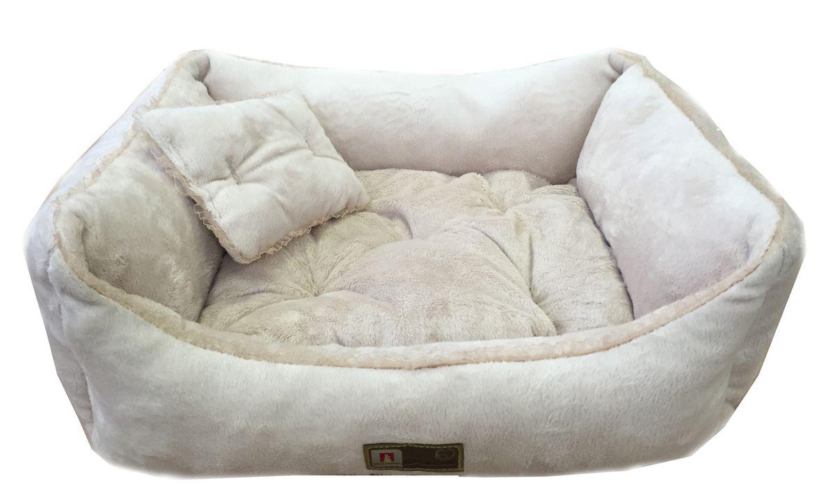 Лежак для собак и кошек Зоогурман Версаль, цвет: светло-серый, 55 х 50 х 12 см лежак дарэлл хантер лось 2 с подушкой 55 40 16см