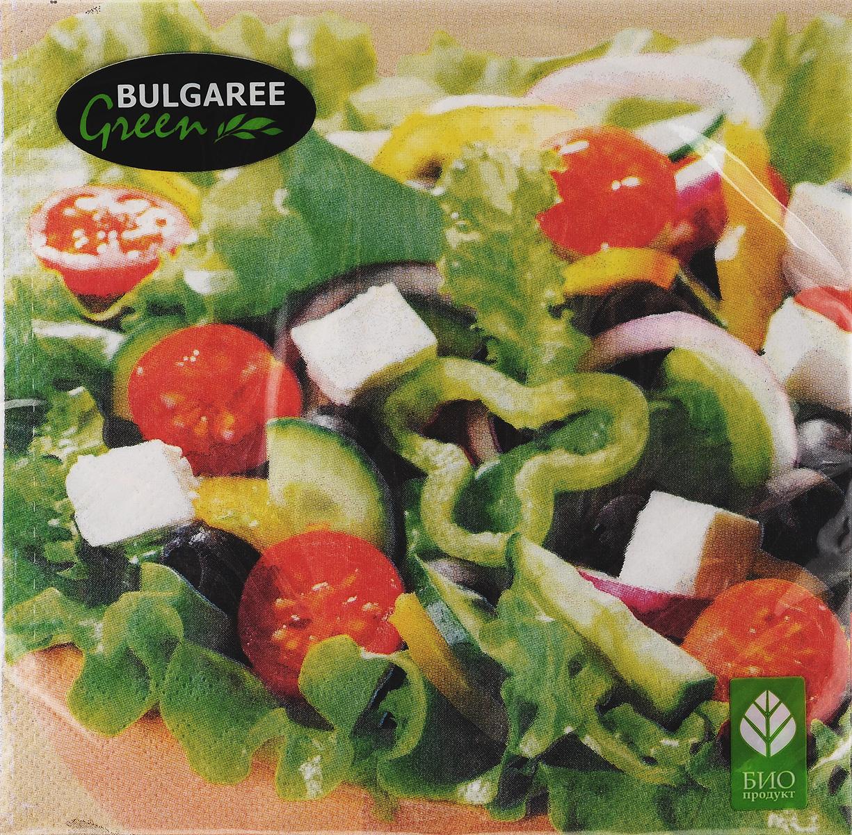 Салфетки бумажные Bulgaree Green Греческий салат, трехслойные, 33 х 33 см, 20 шт1002054Декоративные трехслойные салфетки Bulgaree Green Греческий салат выполнены из 100%целлюлозы европейского качества и оформлены ярким рисунком. Изделия станут отличным дополнением любого праздничного стола. Они отличаются необычной мягкостью, прочностью и оригинальностью.Размер салфеток в развернутом виде: 33 х 33 см.