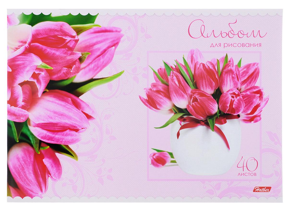 Hatber Альбом для рисования Тюльпаны цвет розовый 40 листов40А4тB_10200_розовые тюльпаныАльбом для рисования Hatber Тюльпаны непременно порадует маленького художника и вдохновит его на творчество. Альбом изготовлен из белоснежной бумаги с яркой обложкой из плотного картона, оформленной красочным изображением. Внутренний блок состоит из 40 листов, скрепленных двумя металлическими скрепками.Высокое качество бумаги позволяет рисовать в альбоме карандашами, фломастерами, акварельными и гуашевыми красками.Создание собственных картинок приносит детям настоящее удовольствие.
