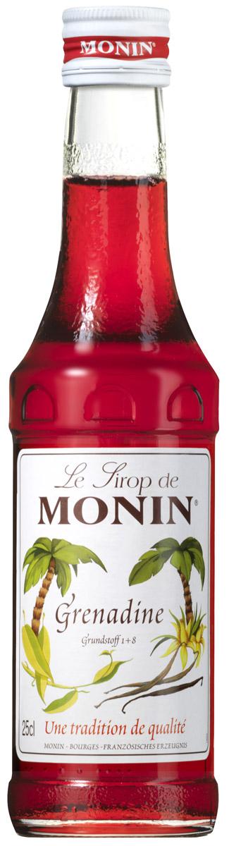 Monin Гренадин сироп, 0,25 лSMONN0-000093Гренадин на сегодняшний день является наиболее распространенным и универсальным подслащивающим веществом и ароматизатором в классической барной миксологии. Как трудно в это верить, он не имеет ничего общего с гранатовым сиропом. Многие коктейли содержат Гренадин. Это придает приятный красный цвет и сладкий, слегка терпкий вкус, который очень популярен для детей и взрослых. Сироп Monin Гренадин представляет аромат красных ягод с оттенком ванили и ярко-красный цвет для окраски безалкогольных напитков, коктейлей, десертов, маринадов и ряд других рецептов.Сиропы Monin выпускает одноименная французская марка, которая известна как лидирующий производитель алкогольных и безалкогольных сиропов в мире. В 1912 году во французском городке Бурже девятнадцатилетний предприниматель Джордж Монин основал собственную компанию, которая специализировалась на производстве вин, ликеров и сиропов. Место для завода было выбрано не случайно: город Бурже находился в непосредственной близости от крупных сельскохозяйственных районов — главных поставщиков свежих ягод и фруктов. Производство сиропов стало ключевым направлением деятельности компании Monin только в 1945 году, когда пост главы предприятия занял потомок основателя — Пол Монин. Именно под его руководством ассортимент марки пополнился разнообразными сиропами из натуральных ингредиентов, которые молниеносно заслужили блестящую репутацию в кругу поклонников кофейных напитков и коктейлей. По сей день высокое качество остается базовым принципом деятельности французской марки. Сиропы Монин создаются исключительно из натуральных ингредиентов по уникальным технологиям, позволяющим сохранять в готовом продукте все полезные свойства природного сырья.Эксперты всего мира сходятся во мнении, что сиропы Monin — это законодатели мод в миксологии. Ассортимент французской марки на сегодняшний день является самым широким и насчитывает полторы сотни уникальных вкусовых решений. В каталоге компании можно найти к