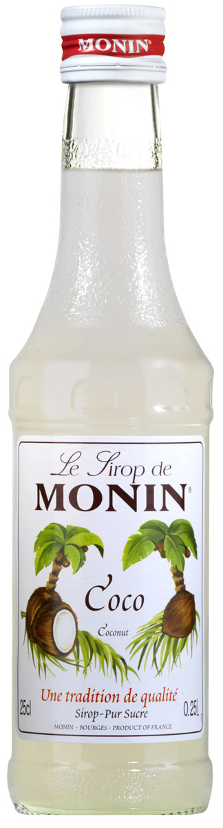 Monin Кокос сироп, 0,25 лSMONN0-000094Кокосовый орех относится к ореху кокосовой пальмы, которая растет в тропических странах. Питательный кокосовый орех и его молоко широко используется в напитках и приготовлении пищи, так как сладкий вкус кокоса хорошо сочетается со сладким, горьким и соленым. Позвольте сиропу Monin Кокос придать чистый кокосовый аромат всем вашим тропическим вдохновленным напиткам.Сиропы Monin выпускает одноименная французская марка, которая известна как лидирующий производитель алкогольных и безалкогольных сиропов в мире. В 1912 году во французском городке Бурже девятнадцатилетний предприниматель Джордж Монин основал собственную компанию, которая специализировалась на производстве вин, ликеров и сиропов. Место для завода было выбрано не случайно: город Бурже находился в непосредственной близости от крупных сельскохозяйственных районов - главных поставщиков свежих ягод и фруктов.Производство сиропов стало ключевым направлением деятельности компании Monin только в 1945 году, когда пост главы предприятия занял потомок основателя - Пол Монин. Именно под его руководством ассортимент марки пополнился разнообразными сиропами из натуральных ингредиентов, которые молниеносно заслужили блестящую репутацию в кругу поклонников кофейных напитков и коктейлей. По сей день высокое качество остается базовым принципом деятельности французской марки. Сиропы Монин создаются исключительно из натуральных ингредиентов по уникальным технологиям, позволяющим сохранять в готовом продукте все полезные свойства природного сырья.Эксперты всего мира сходятся во мнении, что сиропы Monin - это законодатели мод в миксологии. Ассортимент французской марки на сегодняшний день является самым широким и насчитывает полторы сотни уникальных вкусовых решений. В каталоге компании можно найти как классические вкусы для кофейных напитков (шоколадный, ванильный, ореховый и другие сиропы), так и весьма экзотические варианты (сиропы со вкусом кокоса, зеленой мяты, тирамису, блю курасао, ани