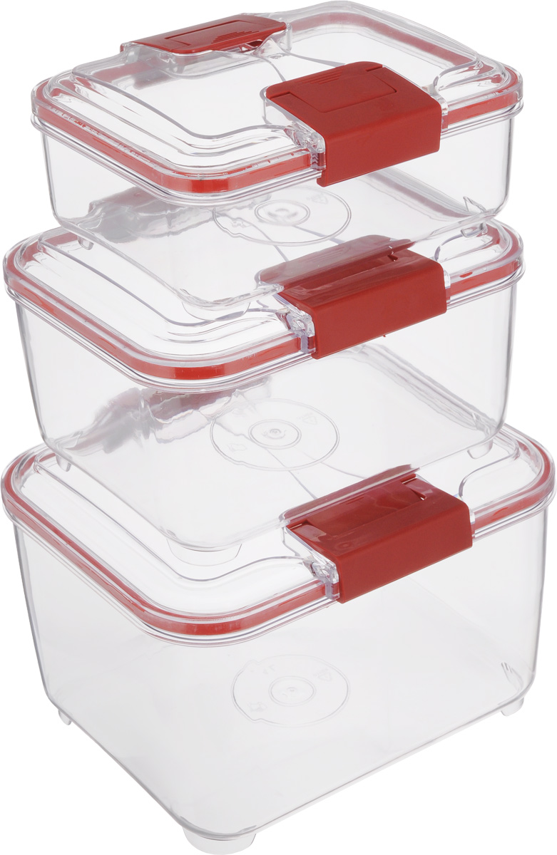 Набор контейнеров Status RC Set higer, цвет: красный, прозрачный, 3 штRC Set higer RedНабор контейнеров Status RC Set higer изготовлен из высококачественного пищевого пластика. Контейнеры безопасны для здоровья, не содержат BPA. Изделия имеют прямоугольную форму и оснащены плотно закрывающимися крышками. Прозрачные стенки позволяют видеть содержимое. Контейнеры закрываются при помощи двух защелок.Можно мыть в посудомоечной машине.Контейнеры подходят для использования вморозильной камере и СВЧ.В наборе три контейнера объемом 1 л, 2 л и 4 л.Размер контейнера 4 л: 24 х 20 х 15,5 см.Размер контейнера 2 л: 21 х 17 х 11,5 см.Размер контейнера 1 л: 18,5 х 15 х 7,5 см.